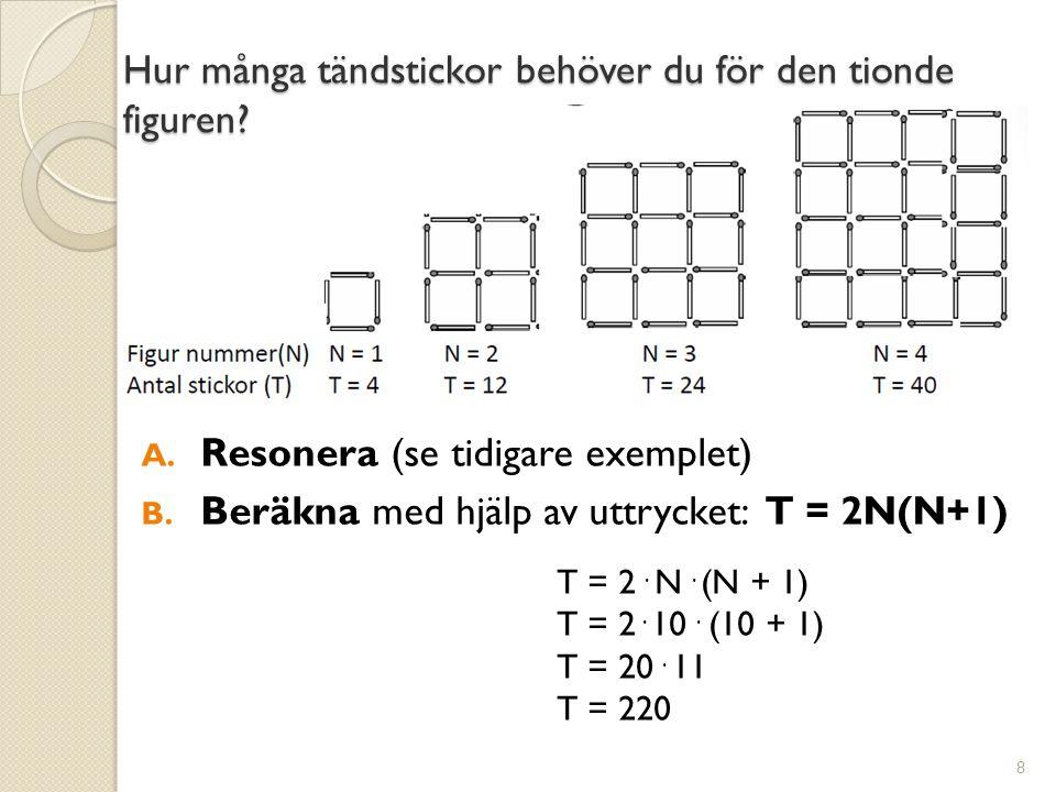 Hur många tändstickor behöver du för den tionde figuren? 8 A. Resonera (se tidigare exemplet) B. Beräkna med hjälp av uttrycket: T = 2N(N+1) T = 2. N.