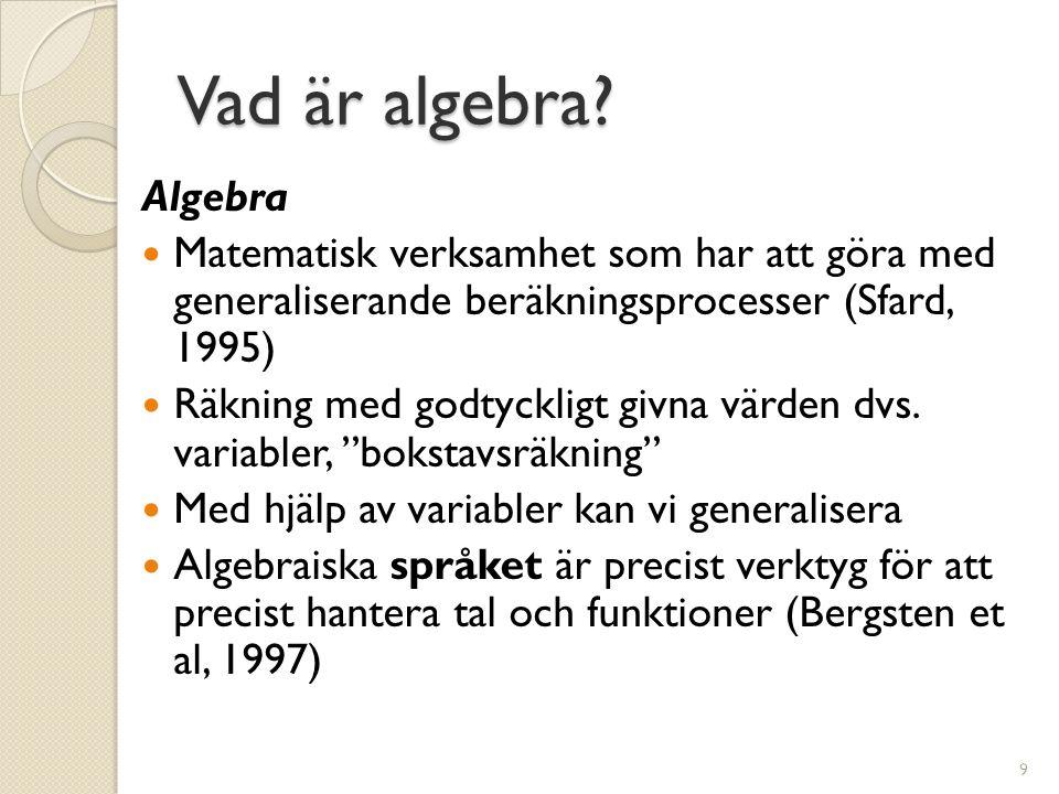Vad är algebra? Algebra  Matematisk verksamhet som har att göra med generaliserande beräkningsprocesser (Sfard, 1995)  Räkning med godtyckligt givna