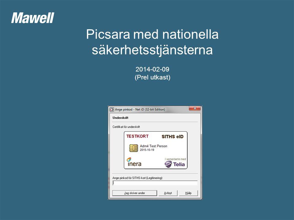 Picsara med nationella säkerhetstjänsterna Nivåer 1.Stöd för stark autentisiering (Litet system, Ex.