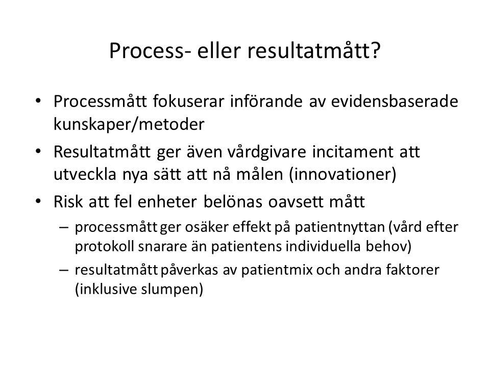 Process- eller resultatmått? • Processmått fokuserar införande av evidensbaserade kunskaper/metoder • Resultatmått ger även vårdgivare incitament att