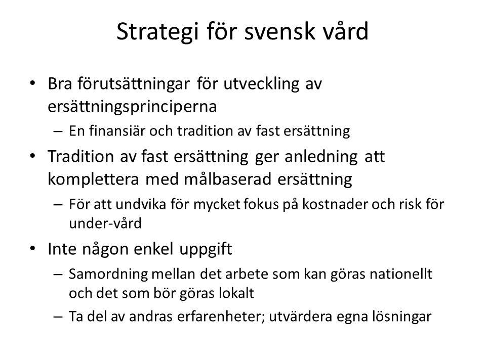 Strategi för svensk vård • Bra förutsättningar för utveckling av ersättningsprinciperna – En finansiär och tradition av fast ersättning • Tradition av