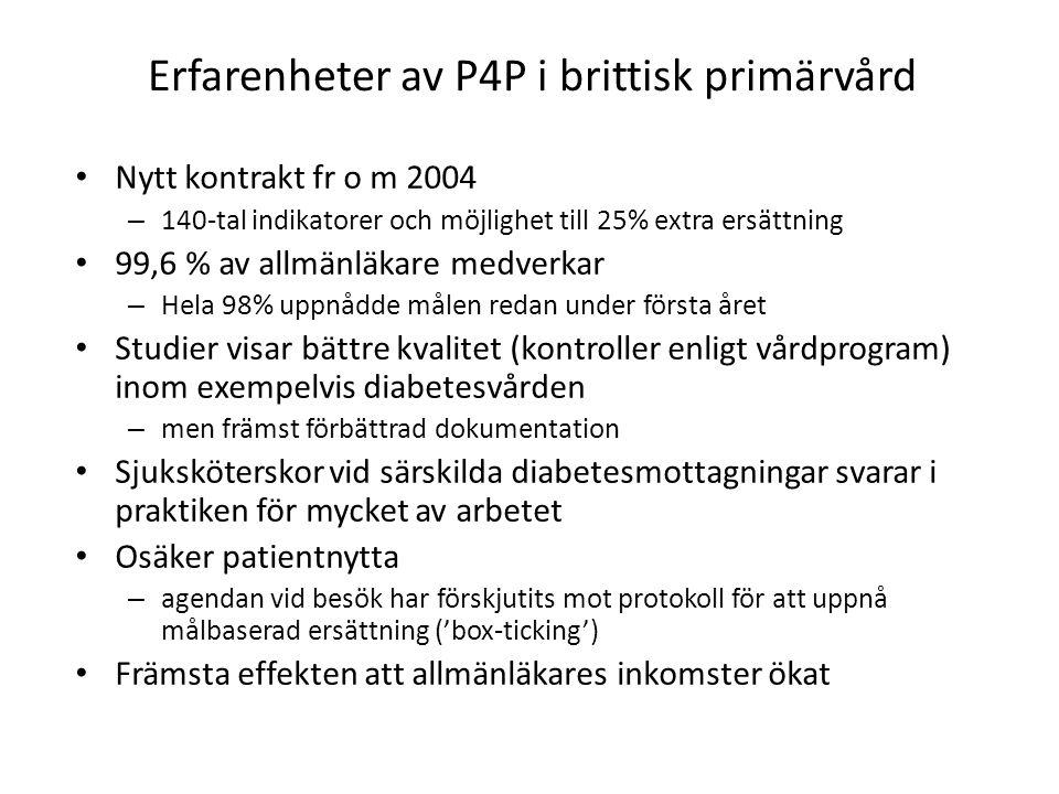 Erfarenheter av P4P i brittisk primärvård • Nytt kontrakt fr o m 2004 – 140-tal indikatorer och möjlighet till 25% extra ersättning • 99,6 % av allmän