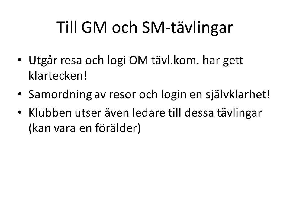 Till GM och SM-tävlingar • Utgår resa och logi OM tävl.kom. har gett klartecken! • Samordning av resor och login en självklarhet! • Klubben utser även