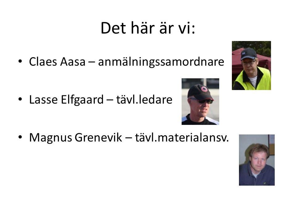 Det här är vi: • Claes Aasa – anmälningssamordnare • Lasse Elfgaard – tävl.ledare • Magnus Grenevik – tävl.materialansv.