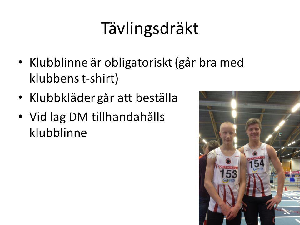 Tävlingsdräkt • Klubblinne är obligatoriskt (går bra med klubbens t-shirt) • Klubbkläder går att beställa • Vid lag DM tillhandahålls klubblinne