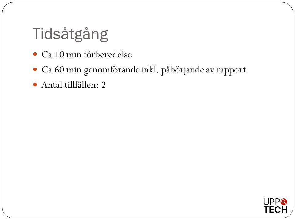 Tidsåtgång  Ca 10 min förberedelse  Ca 60 min genomförande inkl. påbörjande av rapport  Antal tillfällen: 2