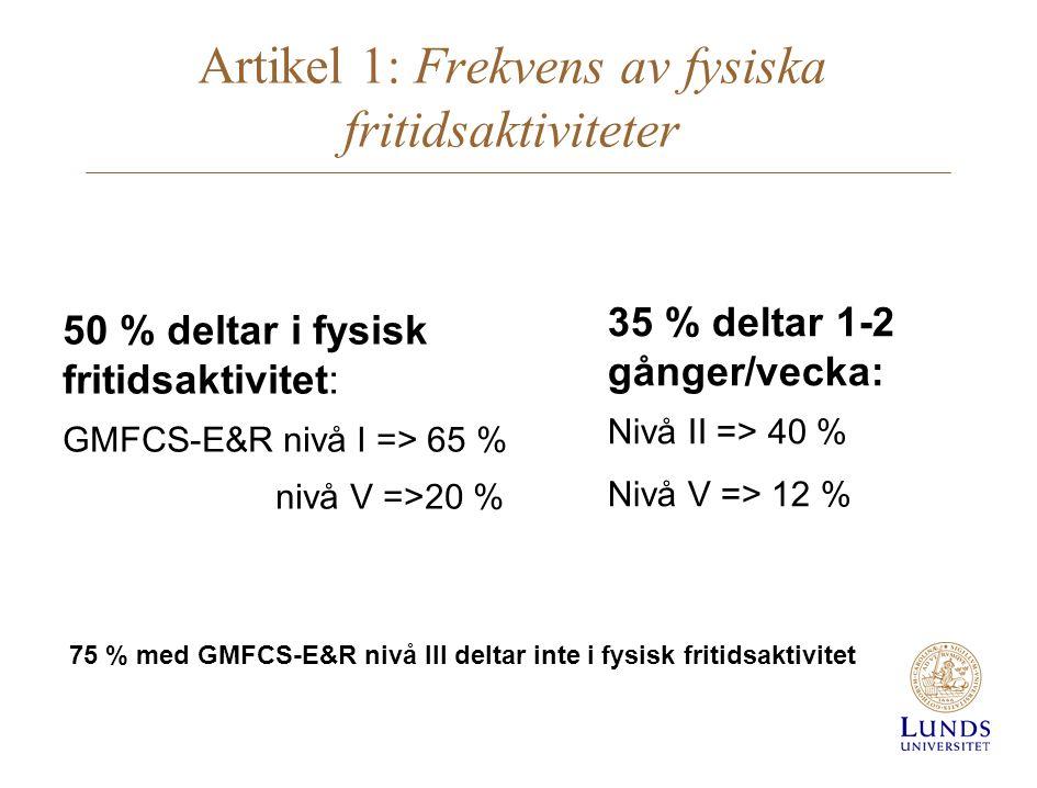 Artikel 1: Frekvens av fysiska fritidsaktiviteter 50 % deltar i fysisk fritidsaktivitet: GMFCS-E&R nivå I => 65 % nivå V =>20 % 35 % deltar 1-2 gånger