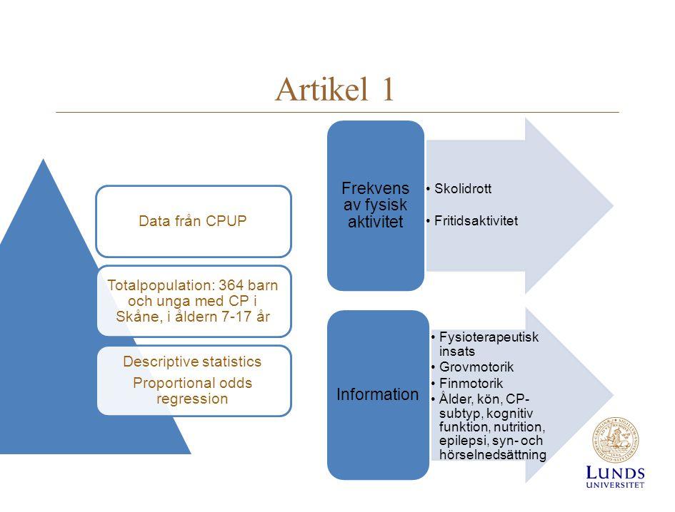 Artikel 1 •Skolidrott •Fritidsaktivitet Frekvens av fysisk aktivitet •Fysioterapeutisk insats •Grovmotorik •Finmotorik •Ålder, kön, CP- subtyp, kognit