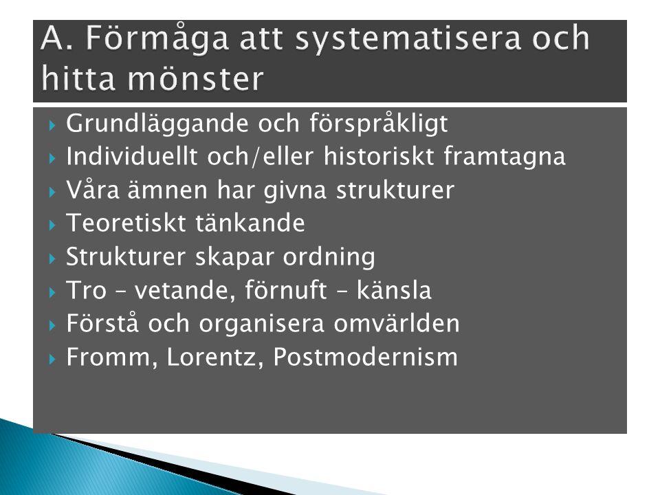  Grundläggande och förspråkligt  Individuellt och/eller historiskt framtagna  Våra ämnen har givna strukturer  Teoretiskt tänkande  Strukturer skapar ordning  Tro – vetande, förnuft – känsla  Förstå och organisera omvärlden  Fromm, Lorentz, Postmodernism