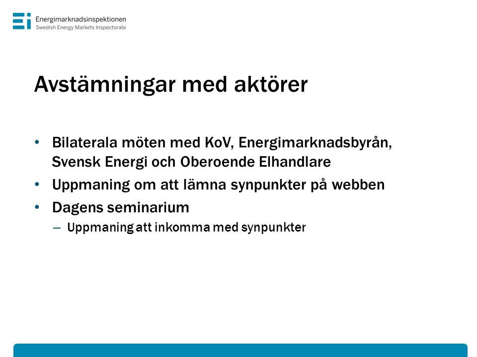Avstämningar med aktörer • Bilaterala möten med KoV, Energimarknadsbyrån, Svensk Energi och Oberoende Elhandlare • Uppmaning om att lämna synpunkter på webben • Dagens seminarium – Uppmaning att inkomma med synpunkter