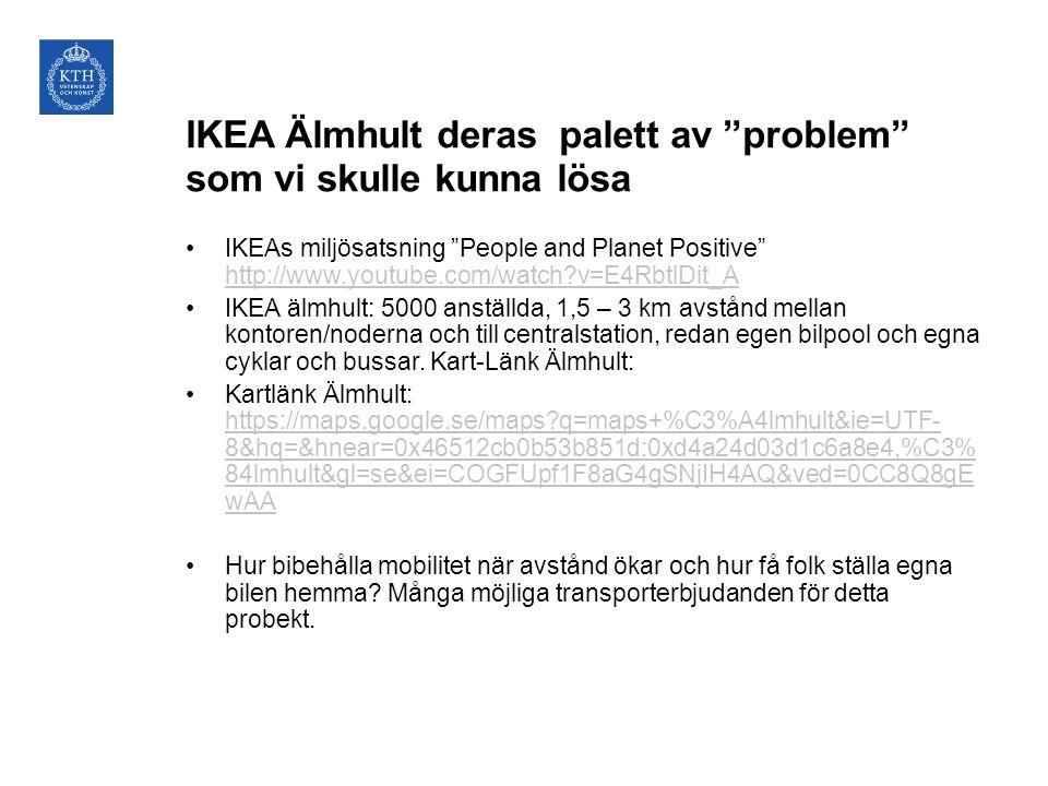 """IKEA Älmhult deras palett av """"problem"""" som vi skulle kunna lösa •IKEAs miljösatsning """"People and Planet Positive"""" http://www.youtube.com/watch?v=E4Rbt"""
