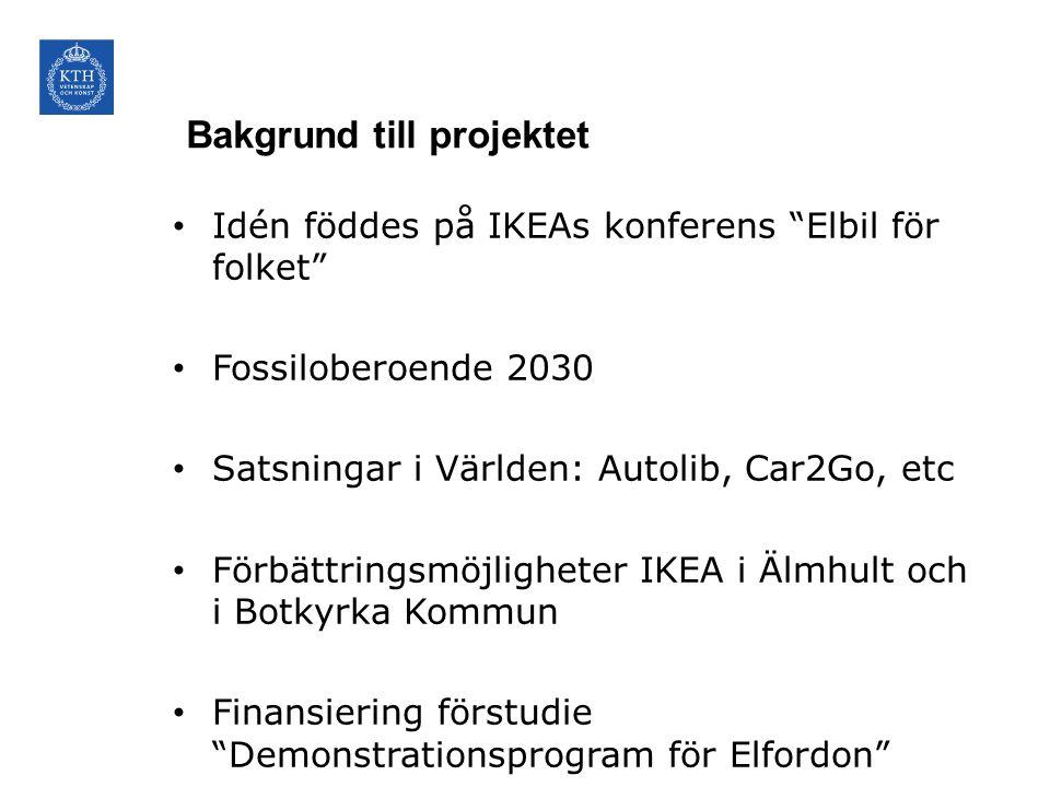 """Bakgrund till projektet • Idén föddes på IKEAs konferens """"Elbil för folket"""" • Fossiloberoende 2030 • Satsningar i Världen: Autolib, Car2Go, etc • Förb"""