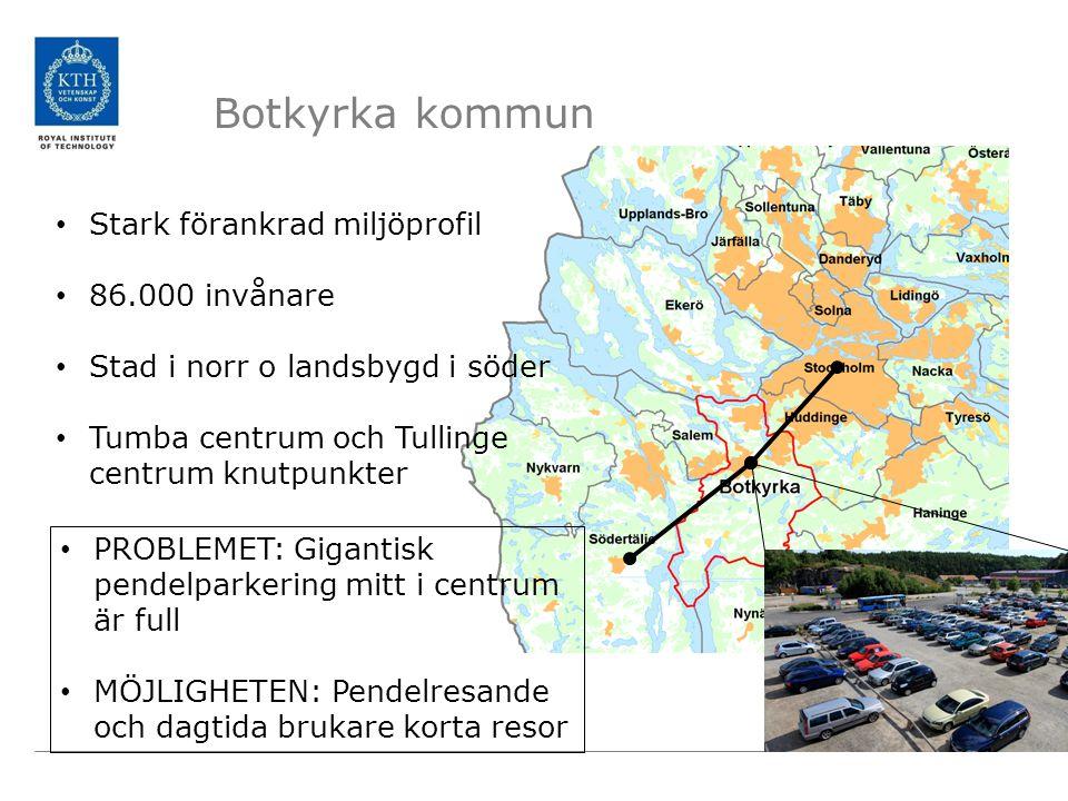Botkyrka kommun • Stark förankrad miljöprofil • 86.000 invånare • Stad i norr o landsbygd i söder • Tumba centrum och Tullinge centrum knutpunkter • P