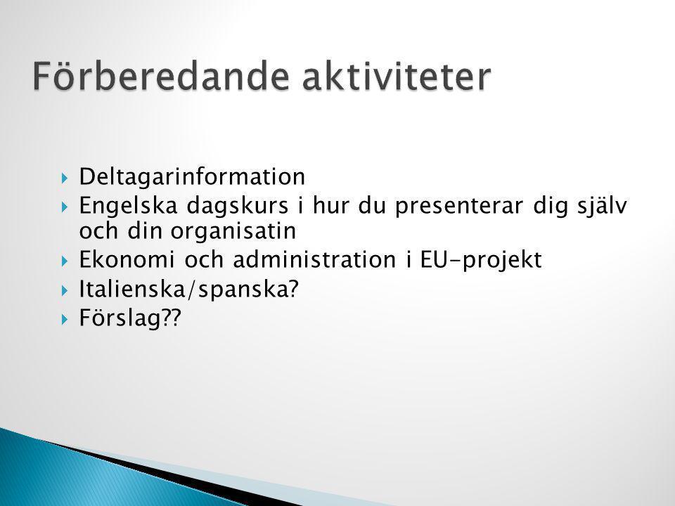  Deltagarinformation  Engelska dagskurs i hur du presenterar dig själv och din organisatin  Ekonomi och administration i EU-projekt  Italienska/sp