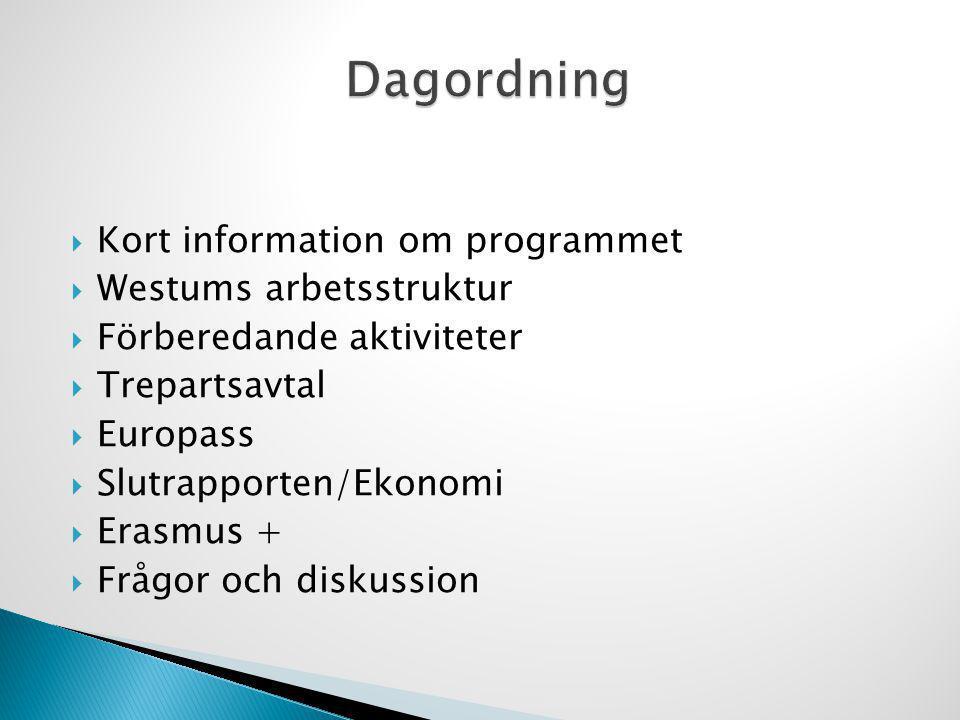  Kort information om programmet  Westums arbetsstruktur  Förberedande aktiviteter  Trepartsavtal  Europass  Slutrapporten/Ekonomi  Erasmus + 