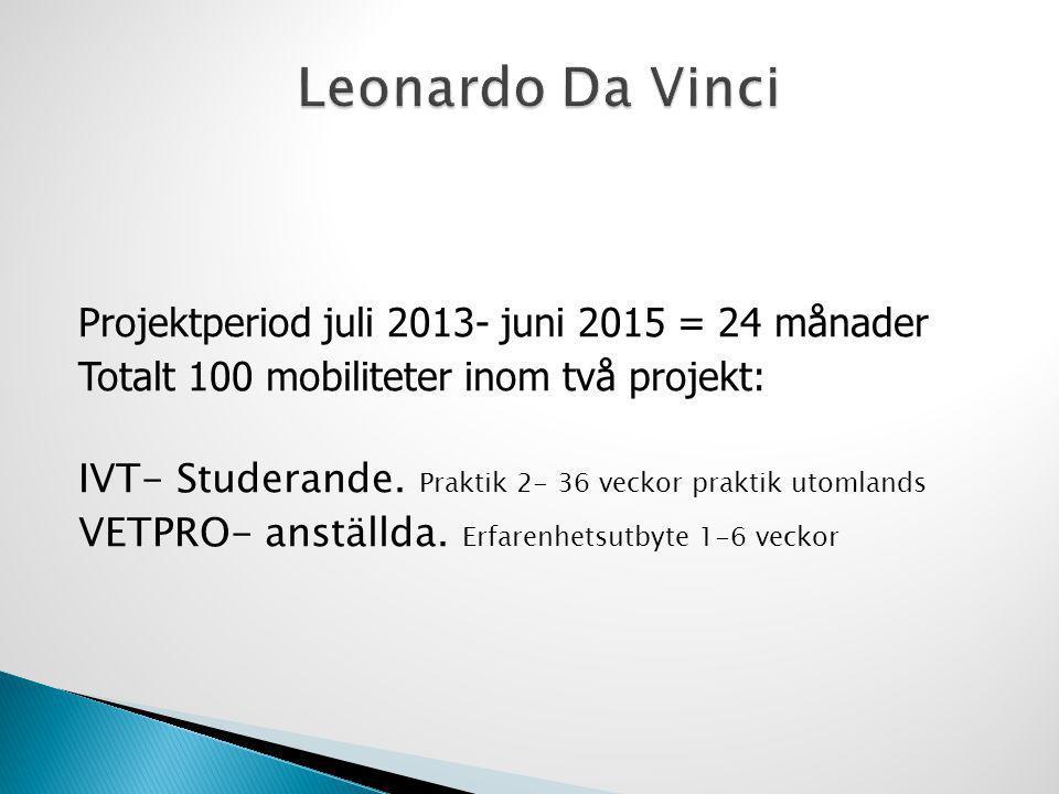 Projektperiod juli 2013- juni 2015 = 24 månader Totalt 100 mobiliteter inom två projekt: IVT- Studerande. Praktik 2- 36 veckor praktik utomlands VETPR