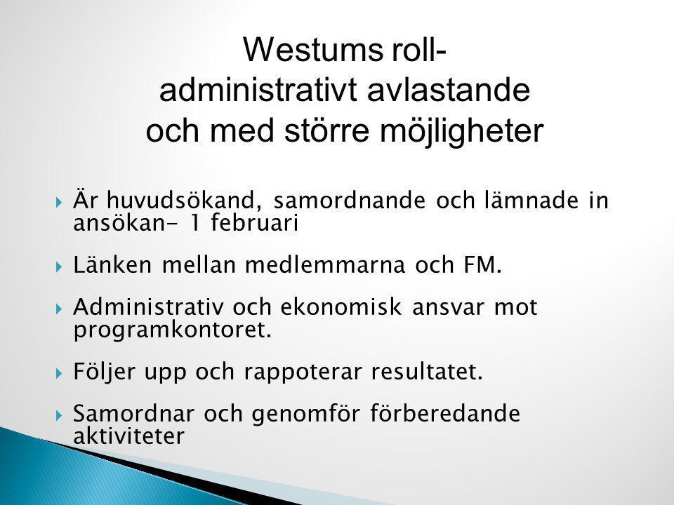  Är huvudsökand, samordnande och lämnade in ansökan- 1 februari  Länken mellan medlemmarna och FM.  Administrativ och ekonomisk ansvar mot programk