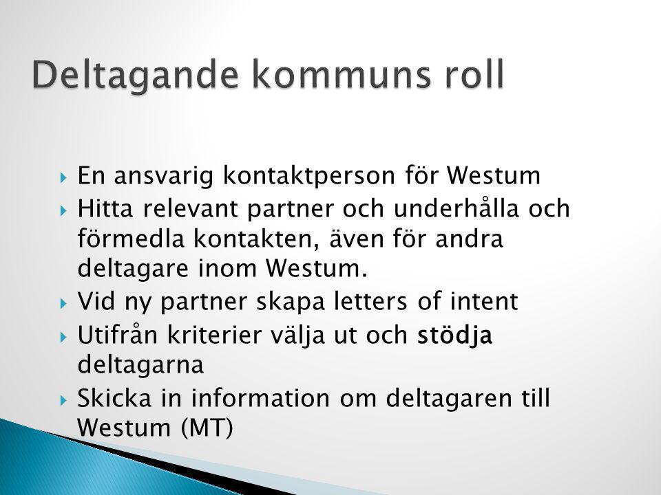  En ansvarig kontaktperson för Westum  Hitta relevant partner och underhålla och förmedla kontakten, även för andra deltagare inom Westum.  Vid ny