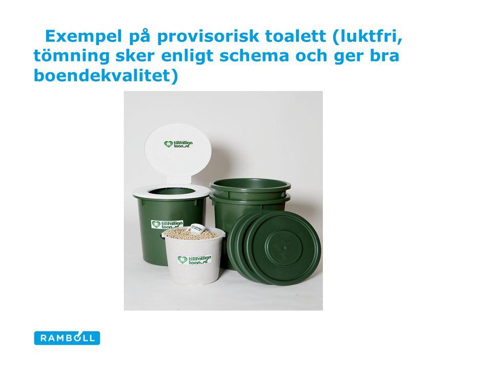 Exempel på provisorisk toalett (luktfri, tömning sker enligt schema och ger bra boendekvalitet) Tillfälliga Toan är ett företag som arbetar med en enk