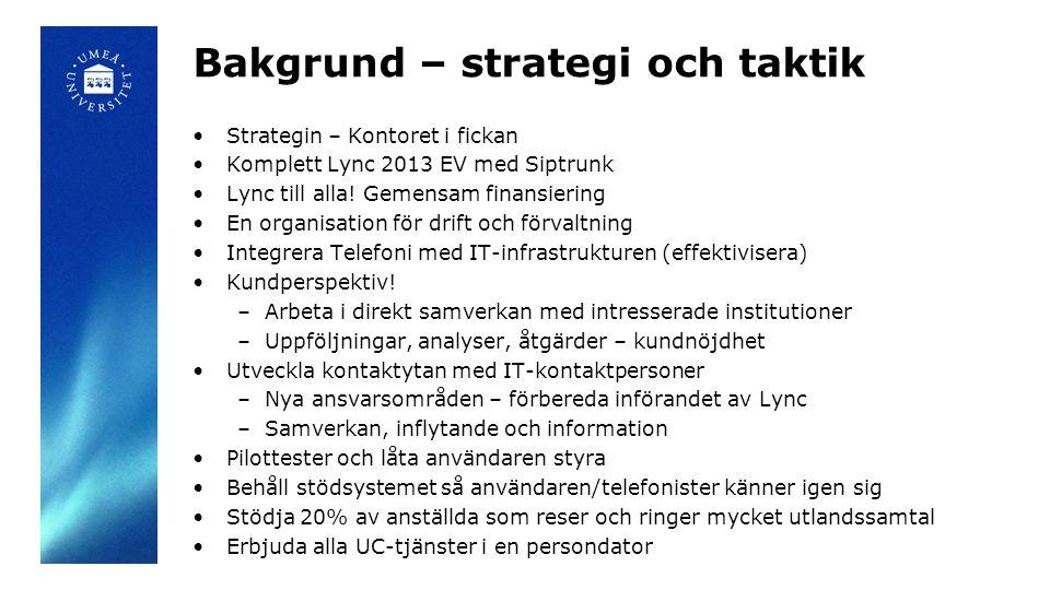 Bakgrund – strategi och taktik •Strategin – Kontoret i fickan •Komplett Lync 2013 EV med Siptrunk •Lync till alla! Gemensam finansiering •En organisat