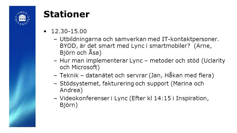Stationer •12.30-15.00 –Utbildningarna och samverkan med IT-kontaktpersoner. BYOD, är det smart med Lync i smartmobiler? (Arne, Björn och Åsa) –Hur ma