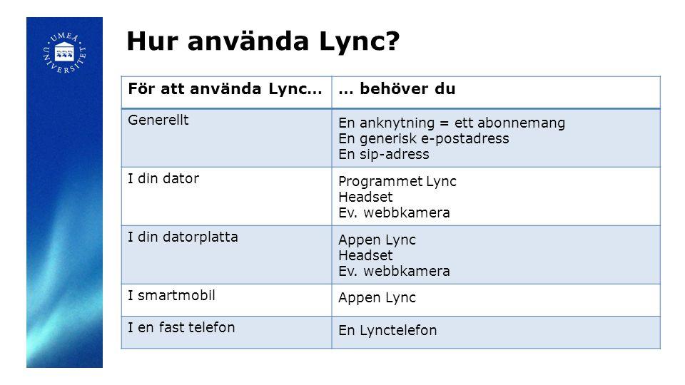 För att använda Lync…… behöver du Generellt En anknytning = ett abonnemang En generisk e-postadress En sip-adress I din dator Programmet Lync Headset
