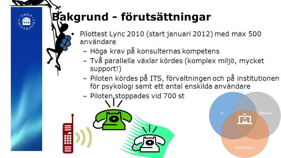Bakgrund - förutsättningar •Pilottest Lync 2010 (start januari 2012) med max 500 användare –Höga krav på konsulternas kompetens –Två parallella växlar