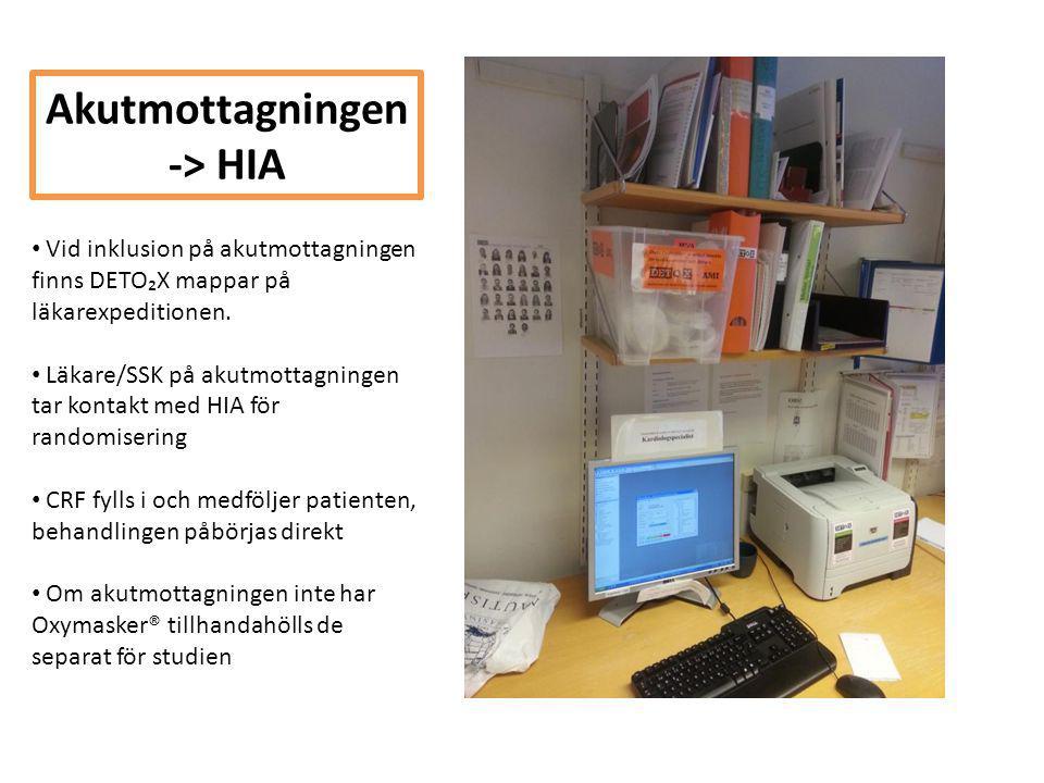 Akutmottagningen -> HIA • Vid inklusion på akutmottagningen finns DETO₂X mappar på läkarexpeditionen. • Läkare/SSK på akutmottagningen tar kontakt med