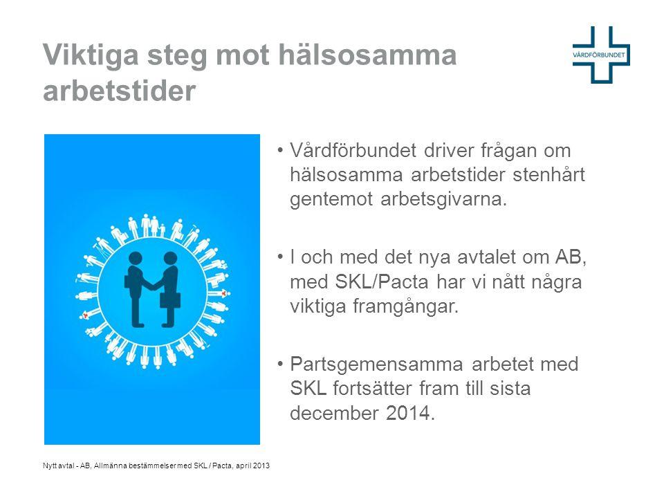 •Vårdförbundet driver frågan om hälsosamma arbetstider stenhårt gentemot arbetsgivarna. •I och med det nya avtalet om AB, med SKL/Pacta har vi nått nå