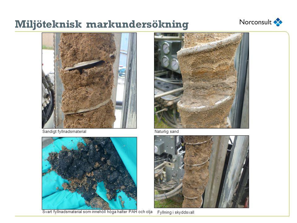 Miljöteknisk markundersökning Sandigt fyllnadsmaterialNaturlig sand Svart fyllnadsmaterial som innehöll höga halter PAH och olja Fyllning i skyddsvall