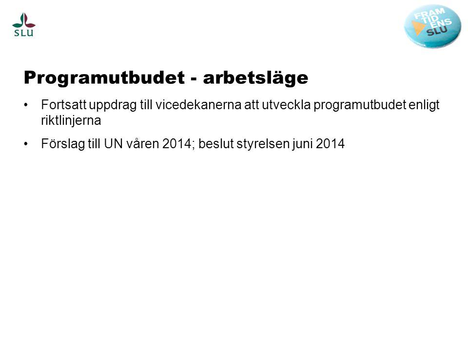 Programutbudet - arbetsläge •Fortsatt uppdrag till vicedekanerna att utveckla programutbudet enligt riktlinjerna •Förslag till UN våren 2014; beslut styrelsen juni 2014