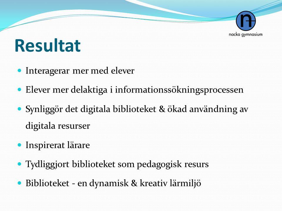Resultat  Interagerar mer med elever  Elever mer delaktiga i informationssökningsprocessen  Synliggör det digitala biblioteket & ökad användning av