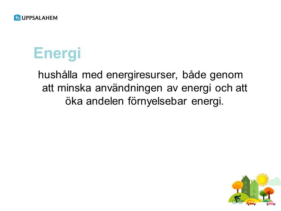Energi hushålla med energiresurser, både genom att minska användningen av energi och att öka andelen förnyelsebar energi.