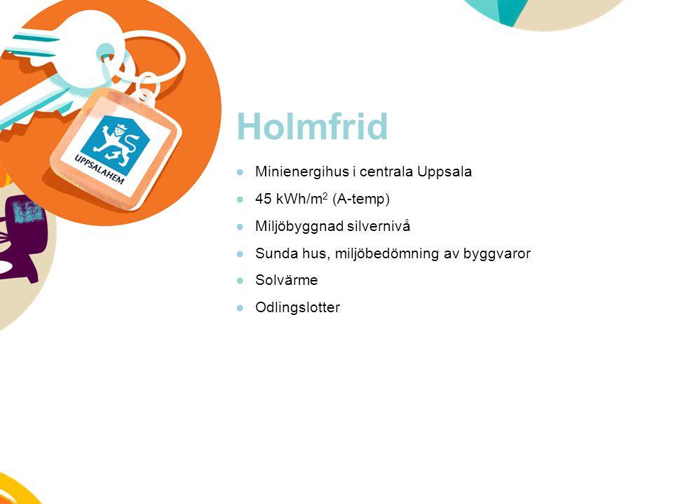 Holmfrid ●Minienergihus i centrala Uppsala ●45 kWh/m 2 (A-temp) ●Miljöbyggnad silvernivå ●Sunda hus, miljöbedömning av byggvaror ●Solvärme ●Odlingslot