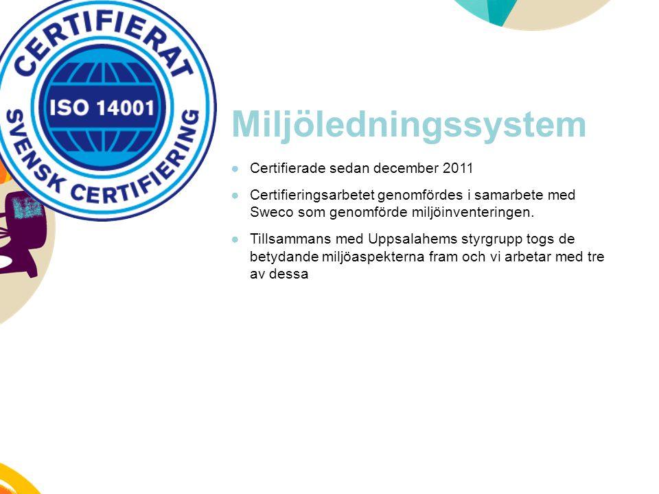 Miljöledningssystem ●Certifierade sedan december 2011 ●Certifieringsarbetet genomfördes i samarbete med Sweco som genomförde miljöinventeringen. ●Till
