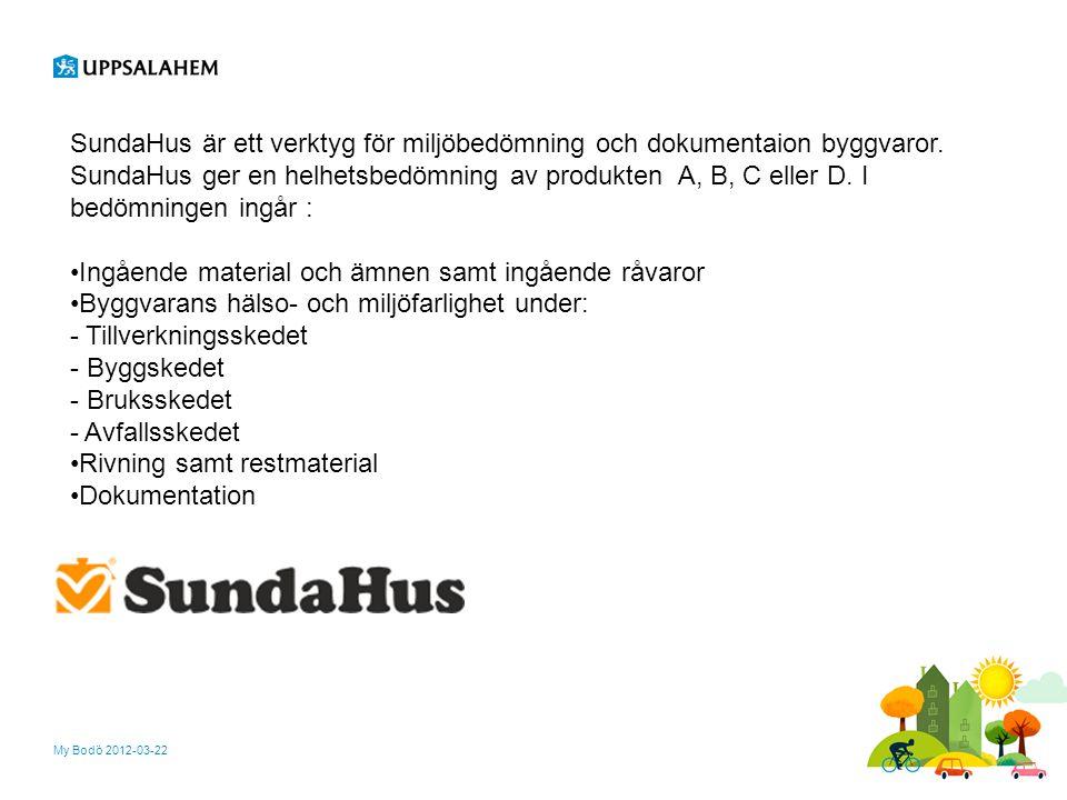 My Bodö 2012-03-22 SundaHus är ett verktyg för miljöbedömning och dokumentaion byggvaror. SundaHus ger en helhetsbedömning av produkten A, B, C eller