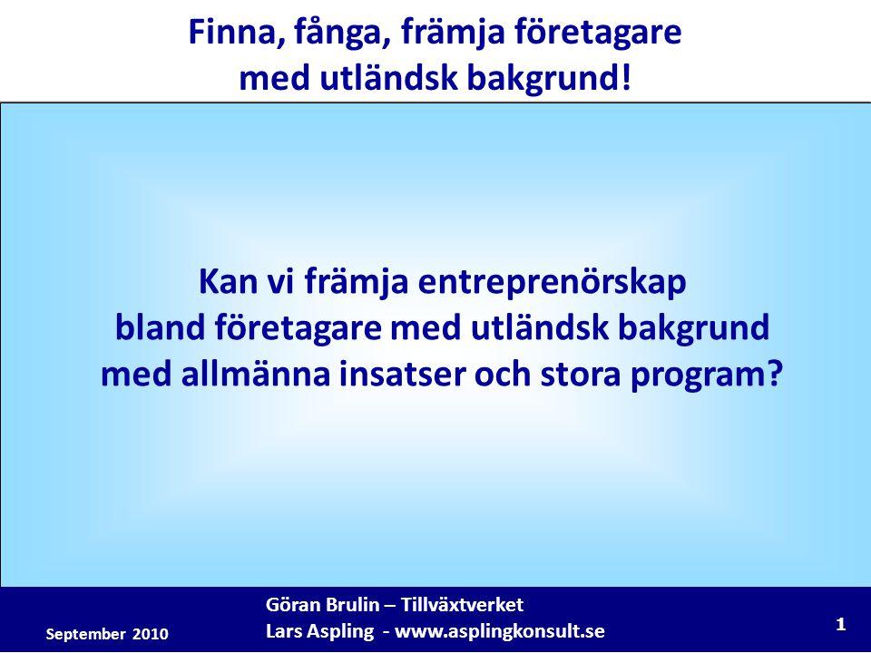 1 Göran Brulin – Tillväxtverket Lars Aspling - www.asplingkonsult.se Finna, fånga, främja företagare med utländsk bakgrund.