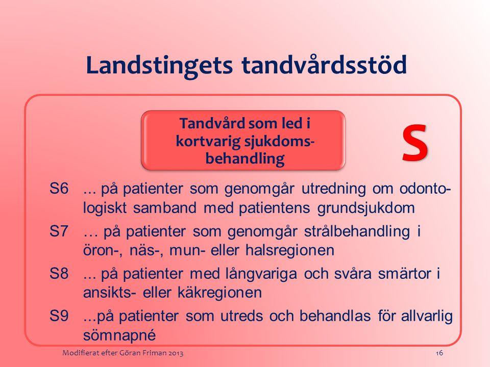 Landstingets tandvårdsstöd Tandvård som led i kortvarig sjukdoms- behandling S6...