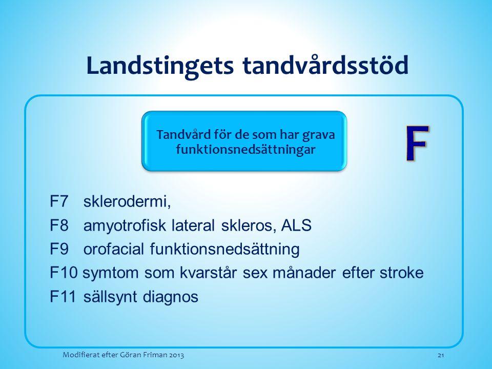 Landstingets tandvårdsstöd Tandvård för de som har grava funktionsnedsättningar F7sklerodermi, F8amyotrofisk lateral skleros, ALS F9orofacial funktion