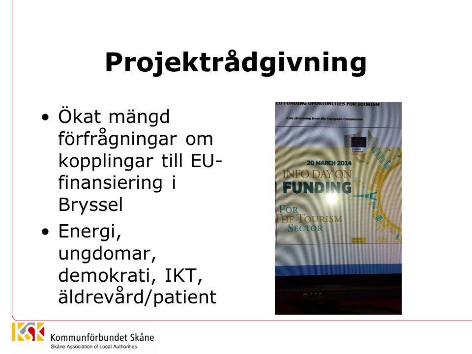 Projektrådgivning •Ökat mängd förfrågningar om kopplingar till EU- finansiering i Bryssel •Energi, ungdomar, demokrati, IKT, äldrevård/patient