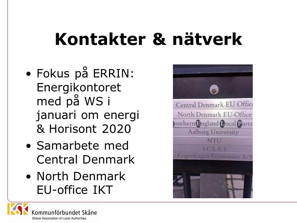 Kontakter & nätverk •Fokus på ERRIN: Energikontoret med på WS i januari om energi & Horisont 2020 •Samarbete med Central Denmark •North Denmark EU-off