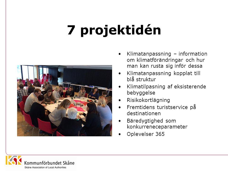 7 projektidén •Klimatanpassning – information om klimatförändringar och hur man kan rusta sig inför dessa •Klimatanpassning kopplat till blå struktur