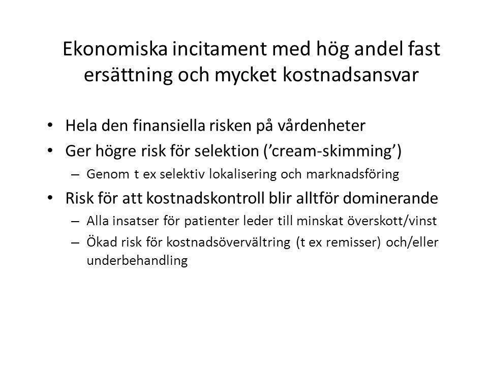 Ekonomiska incitament med hög andel fast ersättning och mycket kostnadsansvar • Hela den finansiella risken på vårdenheter • Ger högre risk för selekt