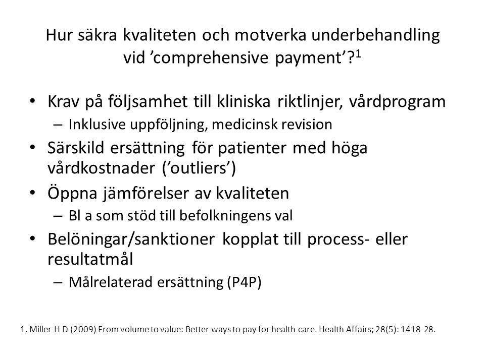 Hur säkra kvaliteten och motverka underbehandling vid 'comprehensive payment'? 1 • Krav på följsamhet till kliniska riktlinjer, vårdprogram – Inklusiv