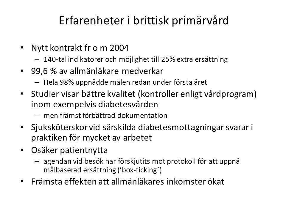 Erfarenheter i brittisk primärvård • Nytt kontrakt fr o m 2004 – 140-tal indikatorer och möjlighet till 25% extra ersättning • 99,6 % av allmänläkare