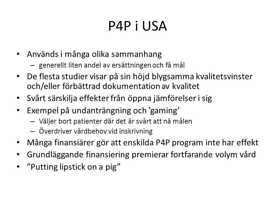 P4P i USA • Används i många olika sammanhang – generellt liten andel av ersättningen och få mål • De flesta studier visar på sin höjd blygsamma kvalit