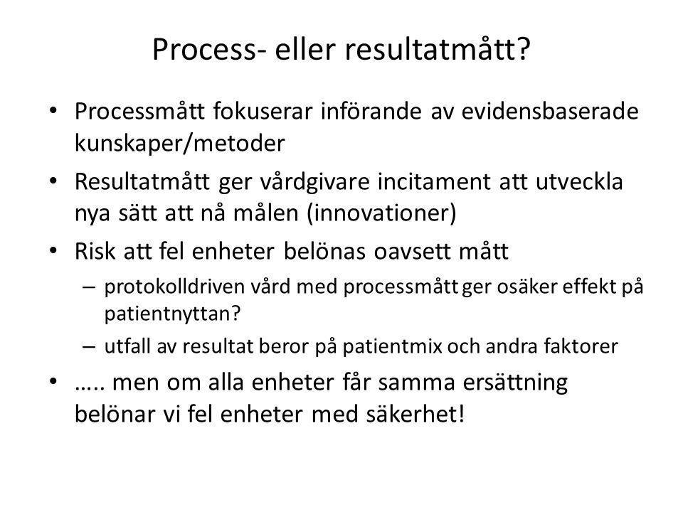 Process- eller resultatmått? • Processmått fokuserar införande av evidensbaserade kunskaper/metoder • Resultatmått ger vårdgivare incitament att utvec