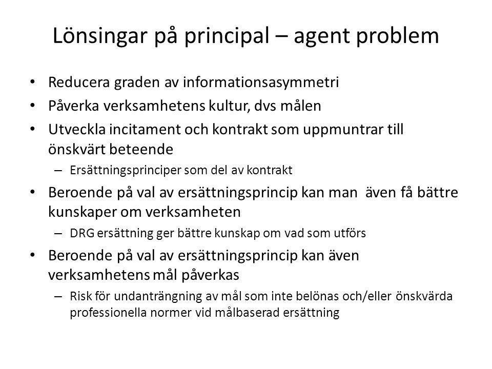 Lönsingar på principal – agent problem • Reducera graden av informationsasymmetri • Påverka verksamhetens kultur, dvs målen • Utveckla incitament och