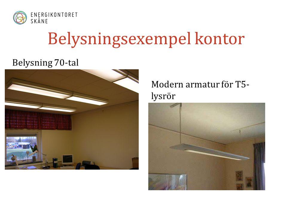 Belysningsexempel kontor Belysning 70-tal Modern armatur för T5- lysrör