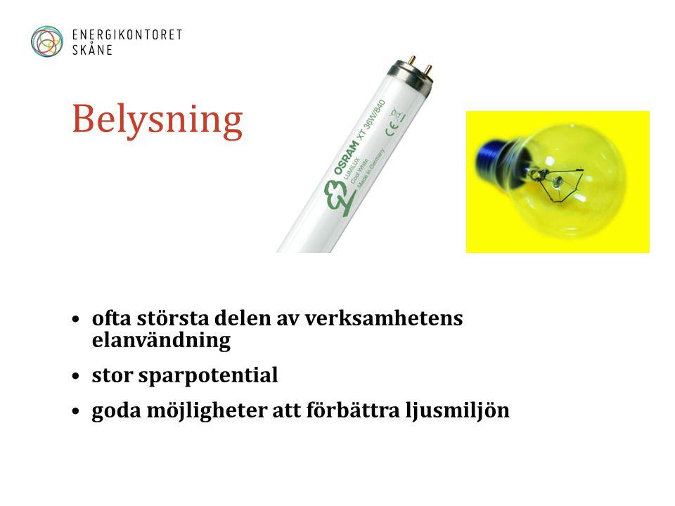 Belysning •ofta största delen av verksamhetens elanvändning •stor sparpotential •goda möjligheter att förbättra ljusmiljön